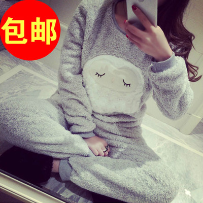 Little Italy home * 2014 winter new thick cute sleeping owl coral velvet pajamas tracksuit suit women