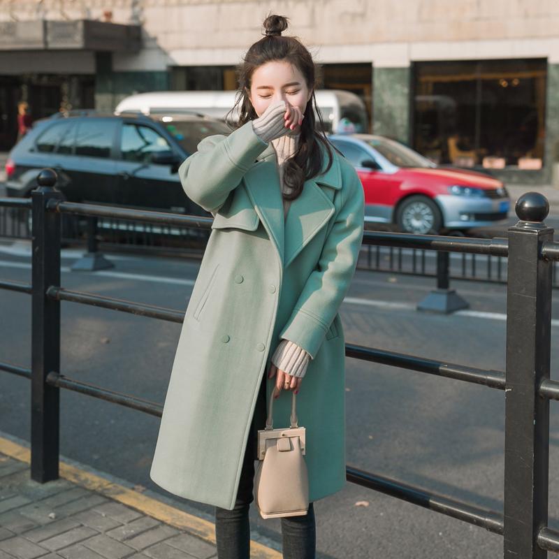 韩国女装大衣女中长款冬装2016新款韩版宽松双排扣休闲毛呢外套潮