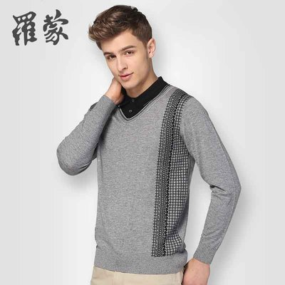 Romon men's shirt collar sweater sweater hedging Slim casual sweater coat autumn 2014 3M35172
