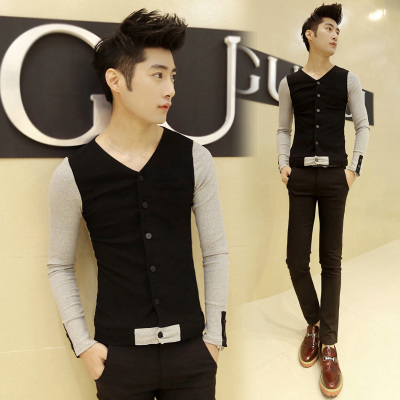 TEF2014 Hitz Korean Fashion Slim Men England v-neck T-shirt casual long-sleeved t-shirt men