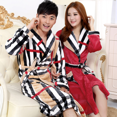 2014 new winter sexy thick coral velvet robe bathrobe couple flannel pajamas home service men and women