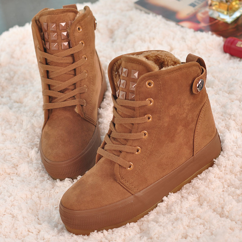 2014 winter in Europe and America suede sneakers boots warm cotton-padded shoes rivet fashion casual and comfortable boots Shoes