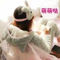 可爱卡通冬季睡衣女冬珊瑚绒冬天韩版加厚加绒甜美保暖家居服套装