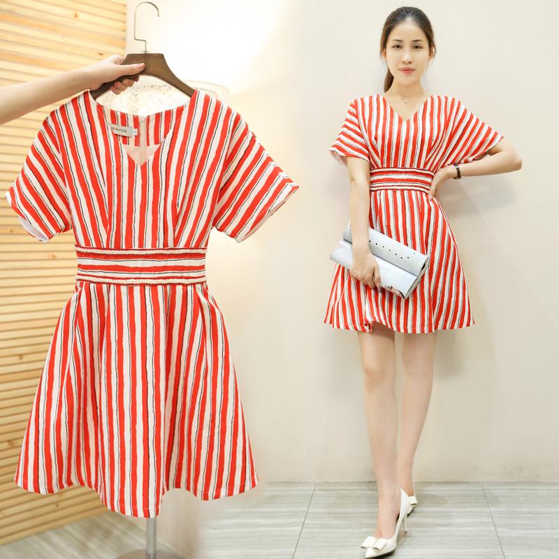 2016夏季新款女装韩版v领条纹连衣裙潮夏装中长款短袖修身a字裙子