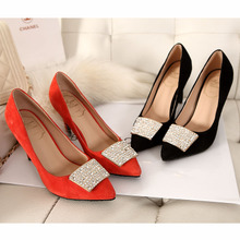 Europe and the United States the new royouviuoer diamond square buckle single female pointed high heel shoes MB sheepskin heel shoes