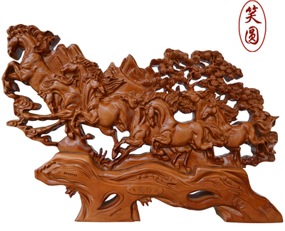 Round mahogany desk laughing eight horses carved wooden screen eight horse ornaments crafts home furnishings accessories Eight Horses gifts