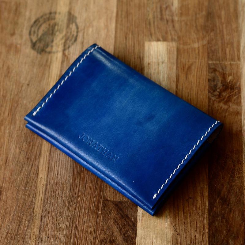 罐手制 蓝色手染意大利植鞣革 极简风卡包 卡套公交卡钱包银行卡