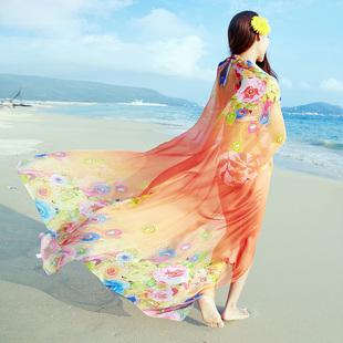 丝巾女春长款印花百搭空调披肩夏季海边防晒沙滩巾韩版雪纺围巾