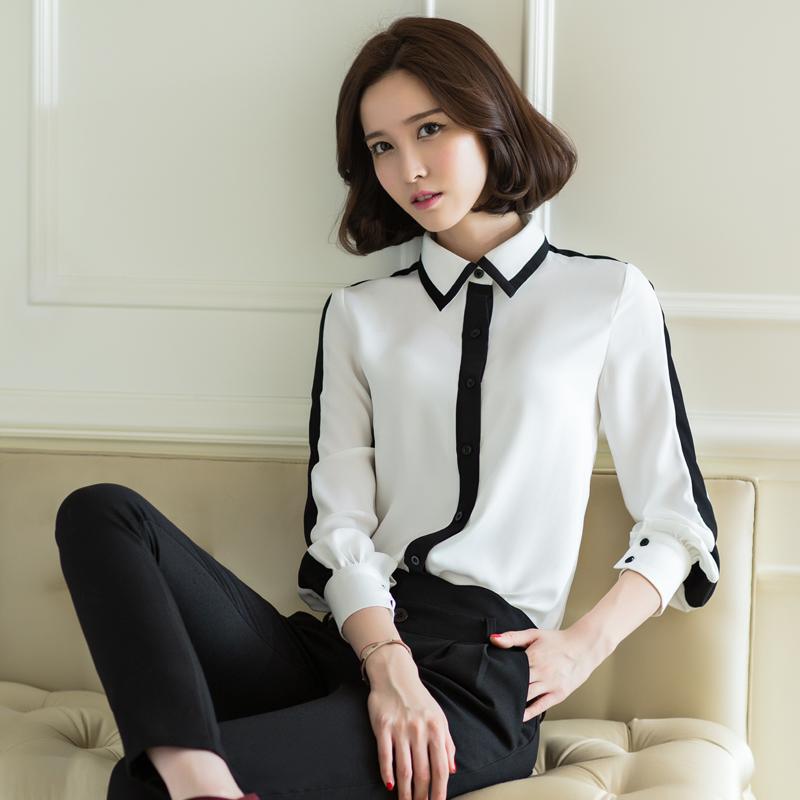 狐娃2015秋装新款女衬衫韩版polo领长袖女上衣黑白撞色雪纺衬衫女