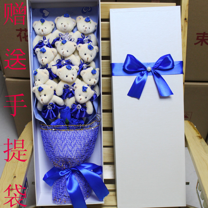 Teddy Bear Cartoon Bouquet Doll Flower Luxury Gift Boxes To Send Girlfriend Wife Birthday Ideas Loading Zoom