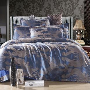 天丝贡缎大提花四件套全棉被套高档礼品婚庆床单夏季豪华床上用品