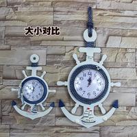 地中海木质船锚舵手挂钟客厅墙饰壁饰海洋钟儿童房装饰非静音钟表