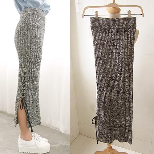 秋冬季新款麻花灰色毛线针织弹力绑带高腰包臀半身一步长裙子女式