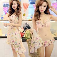 比基尼三件套韩国遮肚显瘦钢托聚拢小胸性感女士裙式长款温泉泳衣