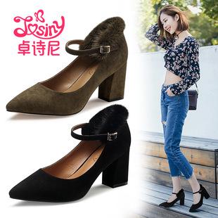 卓诗尼2017秋季浅口尖头高跟单鞋粗跟一字扣带女鞋