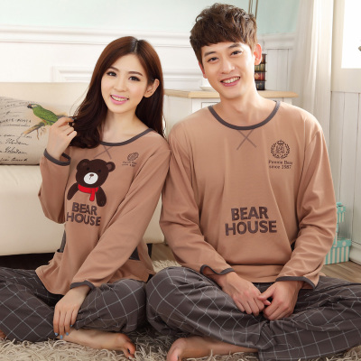 Spring and autumn cotton long-sleeved pajamas couple home service men and thin section lovely ladies plus fertilizer XL Pyjamas