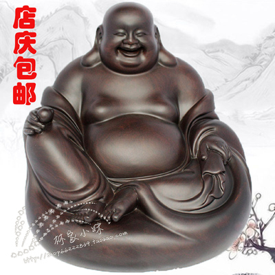 Ebony wood carving factory direct confused demigod bag laughing Maitreya Buddha seated car ornaments wood crafts