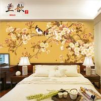 中式古典工笔花鸟客厅壁画壁纸 客厅卧室书房电视背景墙纸