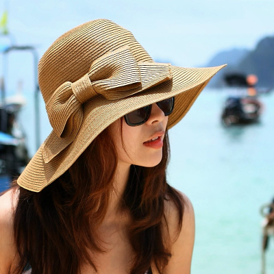Miss Xia Tian Korean straw hat sun hat folding sun hat beach hat large brimmed hat sun hat beach