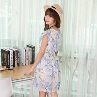 2016夏季韩版新款花朵时尚印花收腰显瘦气质雪纺舒适女裙连衣裙