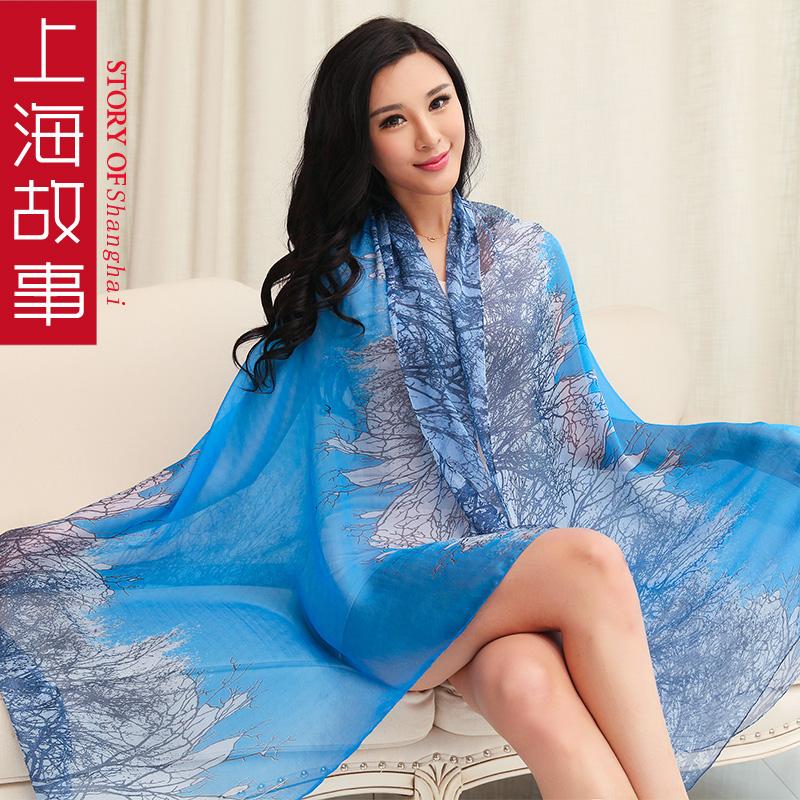 上海故事真丝丝巾女夏长款桑蚕丝围巾春秋防晒披肩两用超大纱巾
