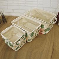 绿树叶棉麻收纳杂物衣物玩具收纳筐可折叠收纳箱整理防水盒布艺