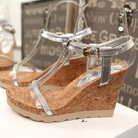 熏彩百丽高跟凉鞋女2015夏季新款真皮坡跟厚底松糕水钻大码女鞋子