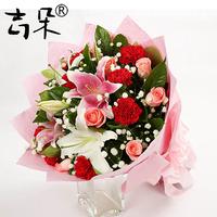 上海北京花店鲜花速递 长辈 生日 祝福 玫瑰康乃馨百合鲜花J095