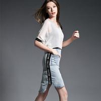 鑫盾2015夏季新款欧美大牌时尚重工牛仔拼接口袋圆领显瘦连衣裙