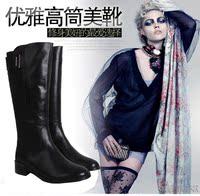 欧美真皮中跟高筒靴圆头侧拉链头层牛皮休闲女中长靴子秋冬季黑色