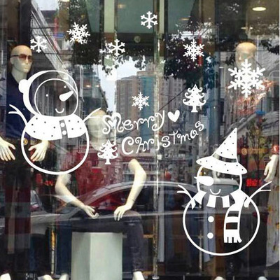 Christmas music festival Christmas window decoration snowman Christmas wall stickers wall stickers large glass window
