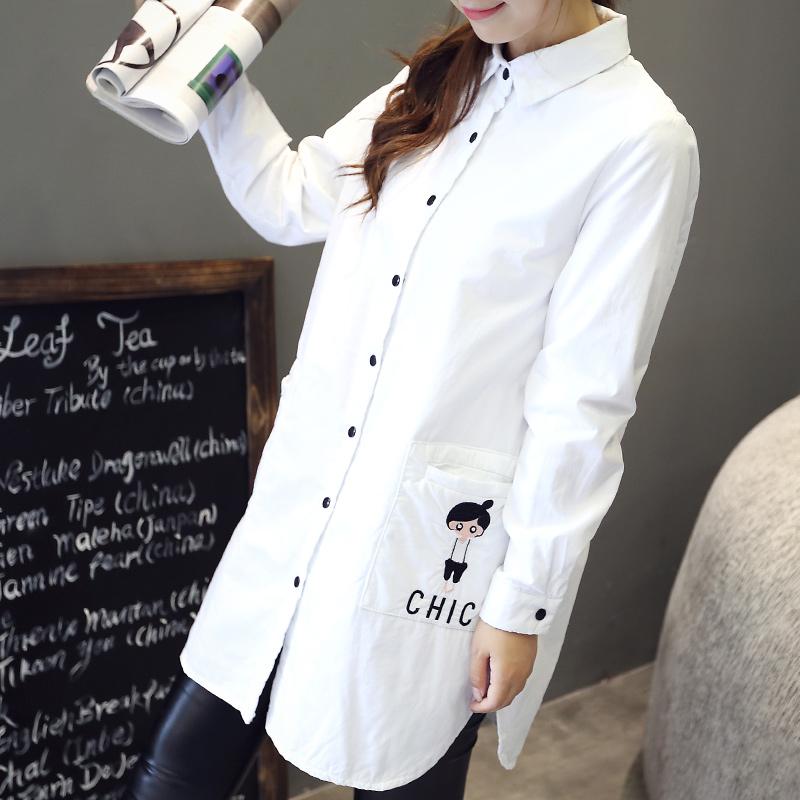 舒雪儿中长款卡通刺绣长袖单排扣夹棉衬衫女学生春季韩版衬衣外套