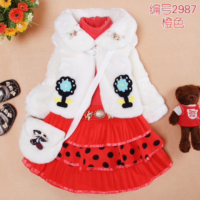 Children's winter 2014 new children's clothing children dress girls dresses princess skirt suit thick winter fur skirt models
