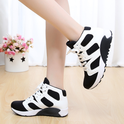 Free shipping 2015 new high-top running shoes spell color female heavy-bottomed muffin canvas shoes women shoes, casual shoes tide