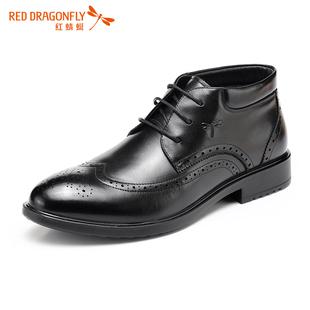 红蜻蜓男士棉鞋 布洛克雕花男鞋真皮休闲鞋 秋冬高帮英伦系带皮鞋