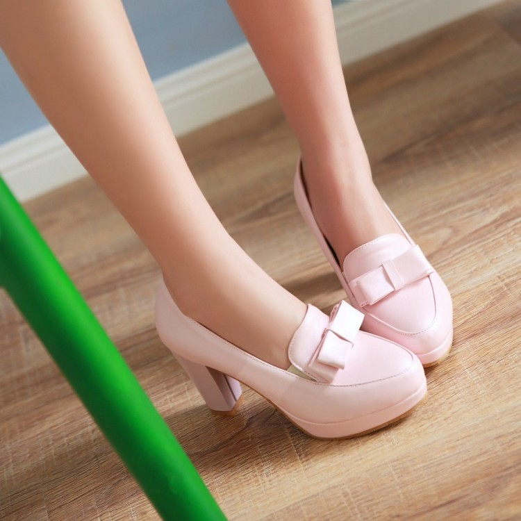 Fashion round toe platform thick high heels
