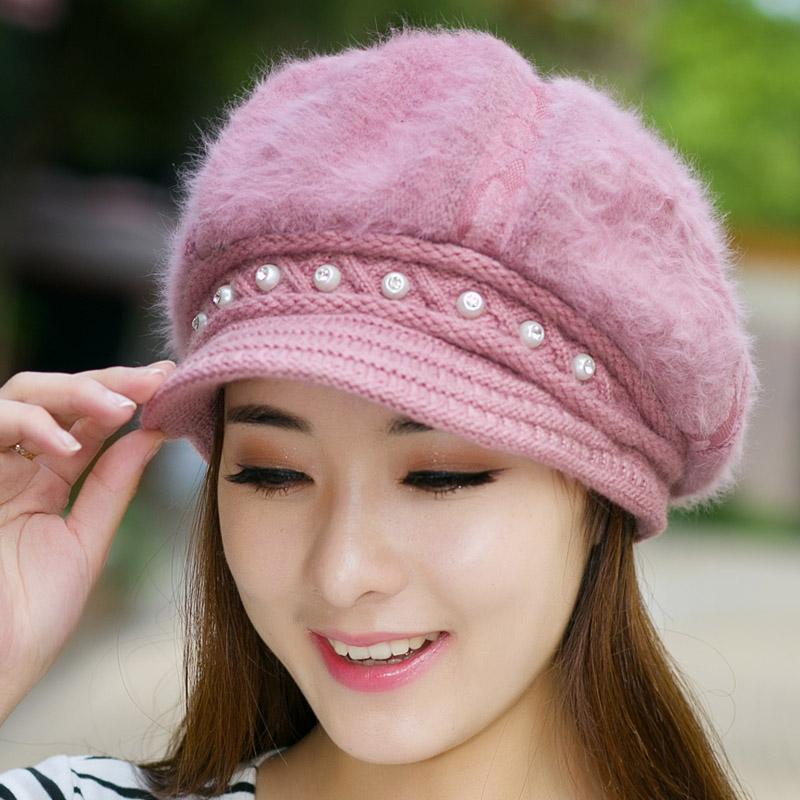 冬季保暖帽子女士 韩版潮可爱 毛线帽时尚针织帽秋冬天贝雷帽包邮