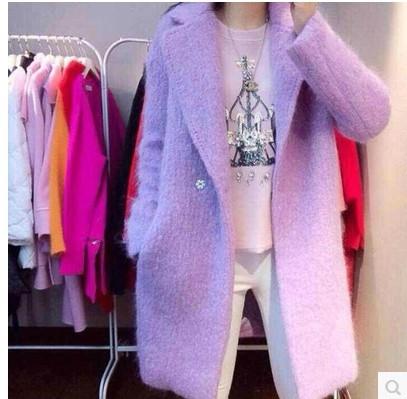 韩国新款2015冬装新款修身毛呢外套中长款呢子大衣女