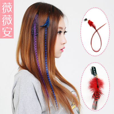 Vivian wigs feather hair color highlights wig pills euramerican popularity colored feather hair piece