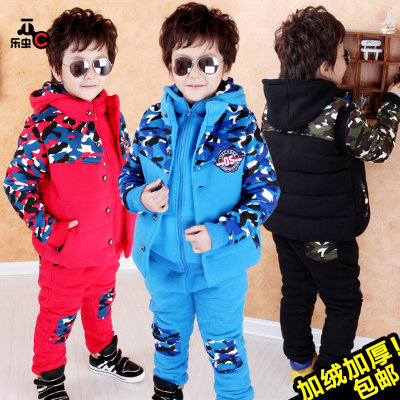 Boy suit children sweater thick velvet three-piece baby clothing sportswear winter 2014 new big boy