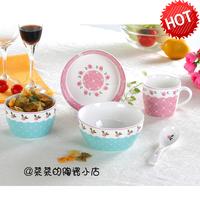 碗碟套装 骨瓷餐具套装5头 学生卡通工作陶瓷器韩式碗勺筷盘礼品
