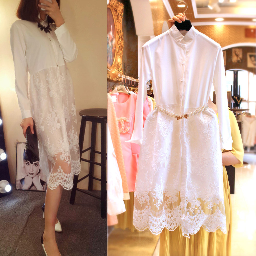 5378 European Grand Prix 2015 spring Korean ladies shirt button-stitching crochet lace dress and long sections