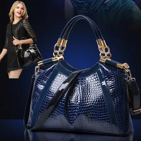 2015春季新款鳄鱼纹真皮女包大包女士包包单肩手提斜跨时尚女包