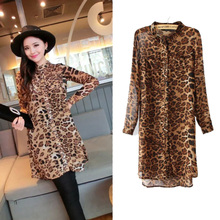 Foreign trade wholesale Europe and the United States summer fashion sexy leopard blasting bask long unlined upper garment, favors the woman dress