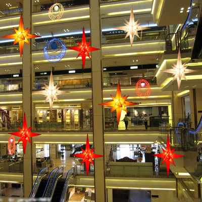 Lang Sen 1 m white Christmas star explosion fourteen-pointed star in the atrium Charm Christmas shopping Christmas