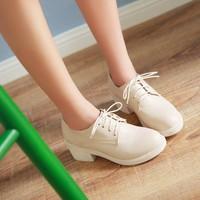 秋季皮鞋英伦单鞋女韩版中跟百搭学生粗跟女鞋学院风系带米色简约