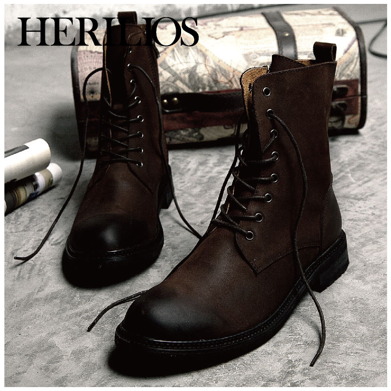 HERILIOS leather men boots winter boots trend of casual men's ...