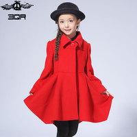 3QR童装春秋韩版女童毛呢大衣中长款加厚外套呢子大衣