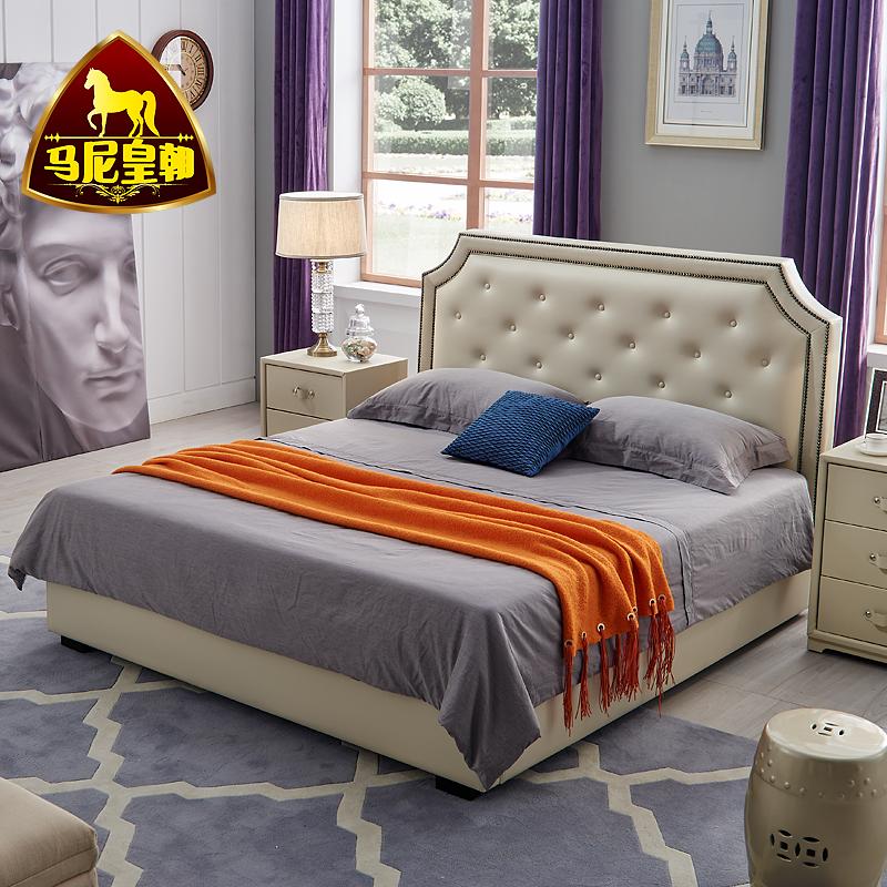 欧式头层真皮床卧室现代家具婚床小户型皮床等婚床
