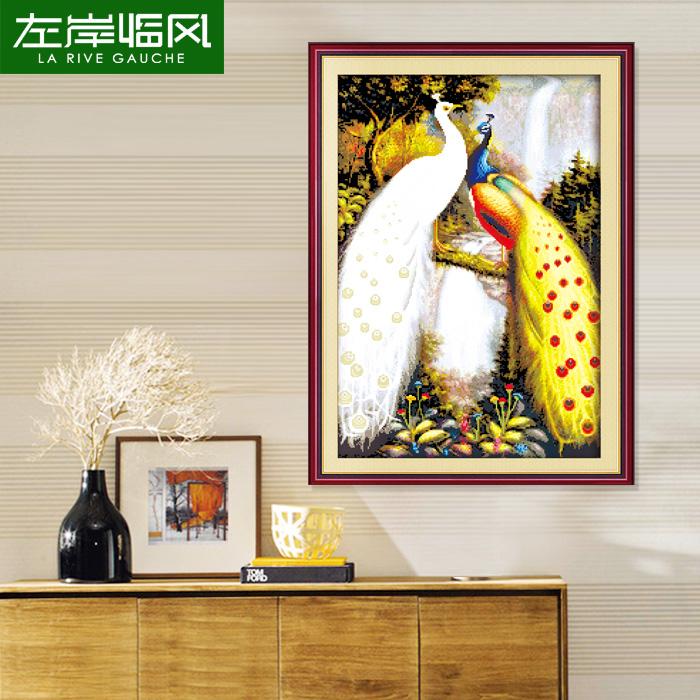 左岸精准印花十字绣 孔雀图系列孔雀呈祥竖版十字绣 新款客厅